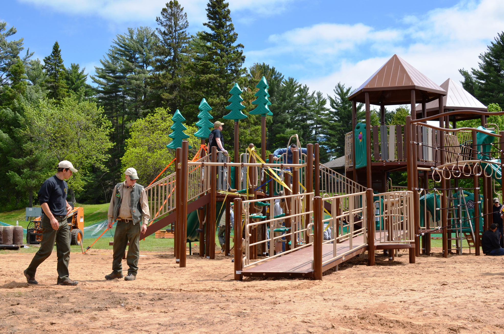 The playground at Van Riper State Park begins to take shape in Marquette County.