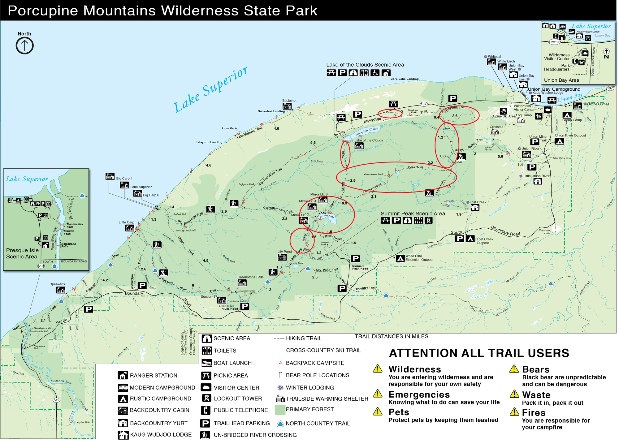 Red circles on a map depict the areas of greatest storm damage at Porcupine Mountains Wilderness State Park.