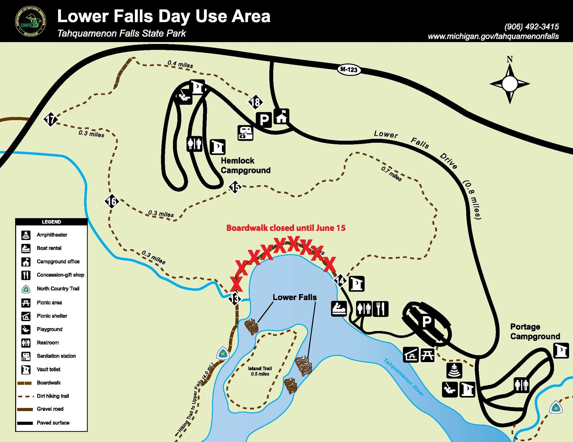 : A map shows the Lower Falls day use area, including the area to be closed temporarily for construction.