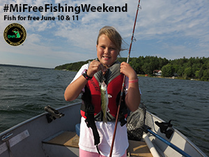 2017 Summer Free Fishing Weekend promo with young girl holding fish in boat