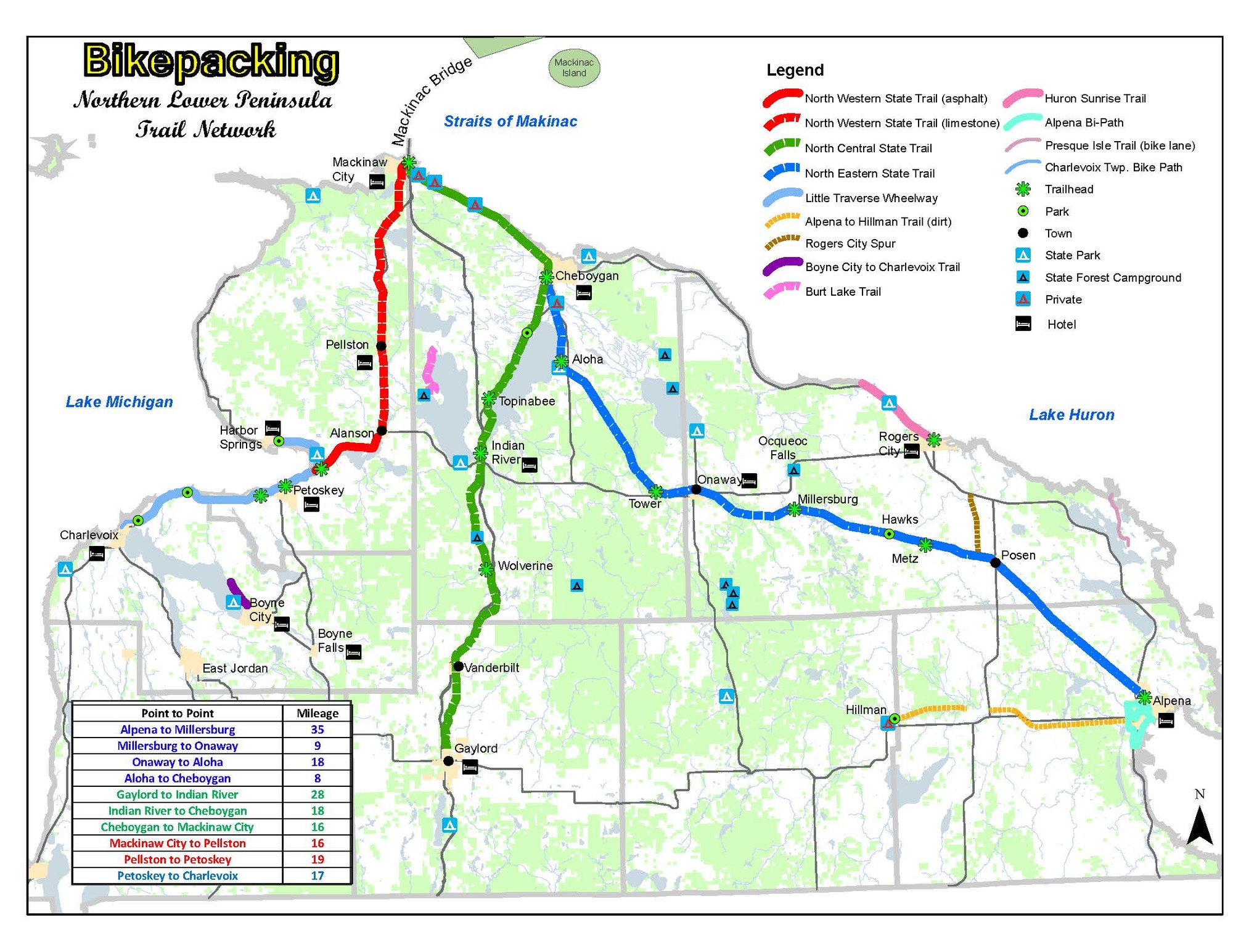 A map shows bikepacking opportunities in the northern Lower Peninsula.