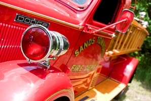 close-up of side of antique Sands Township Fire Dept. truck
