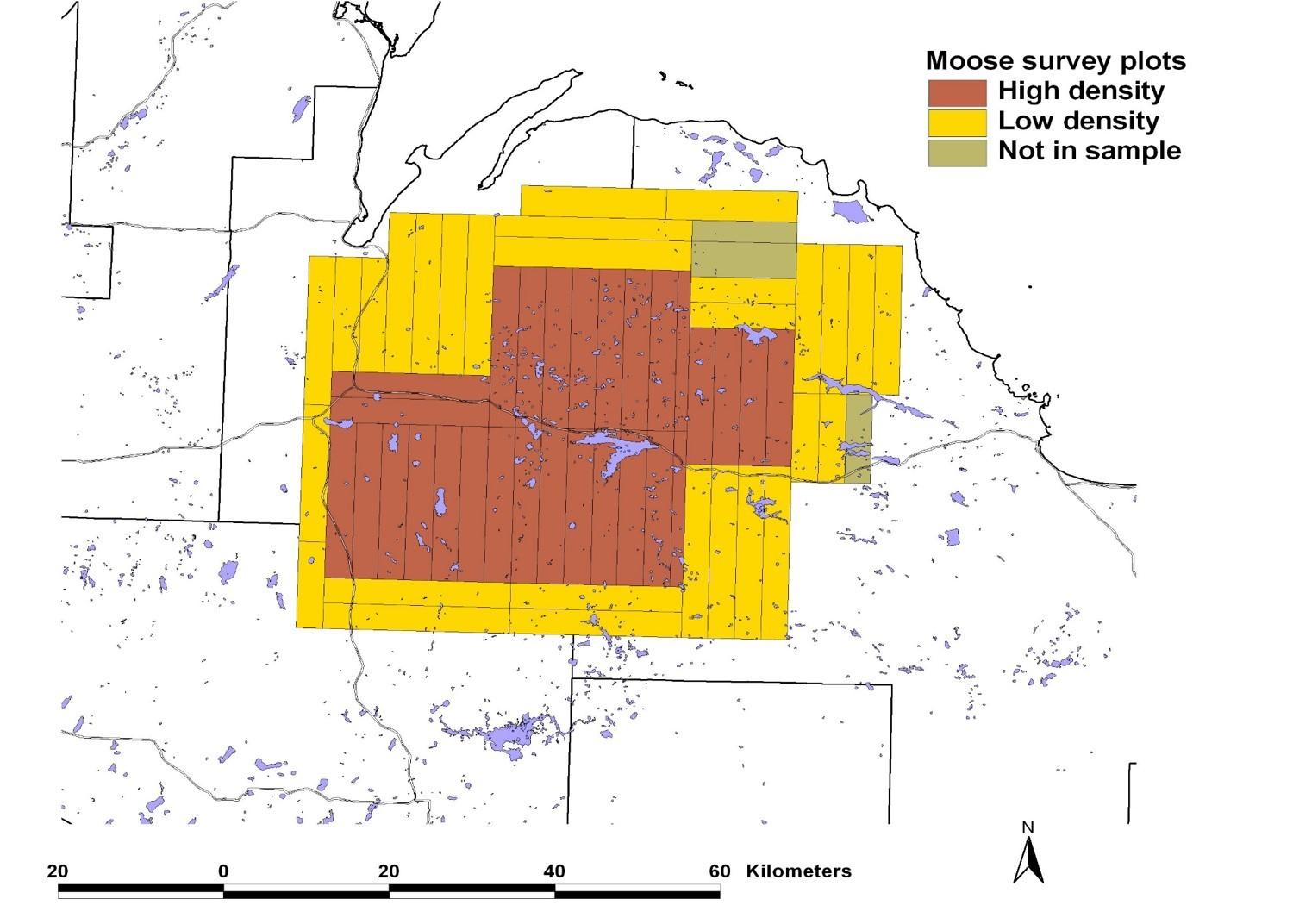 This map shows the high- and low-density core moose population areas in the western Upper Peninsula.