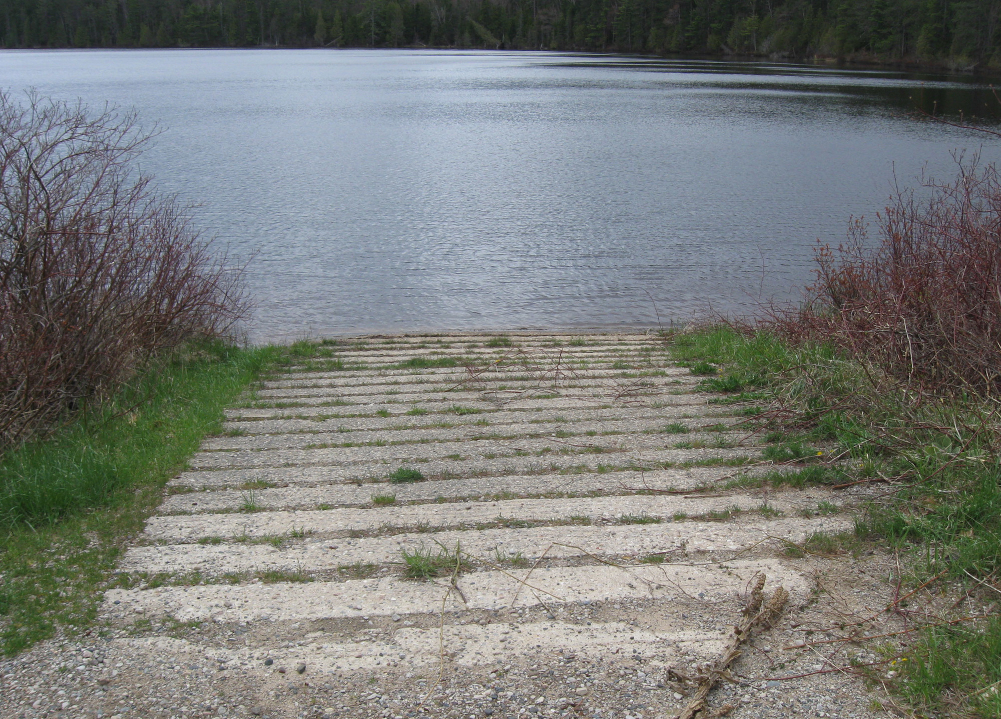 The boat ramp at the Culhane Lake State Forest Campground in Luce County is closed for replacement.
