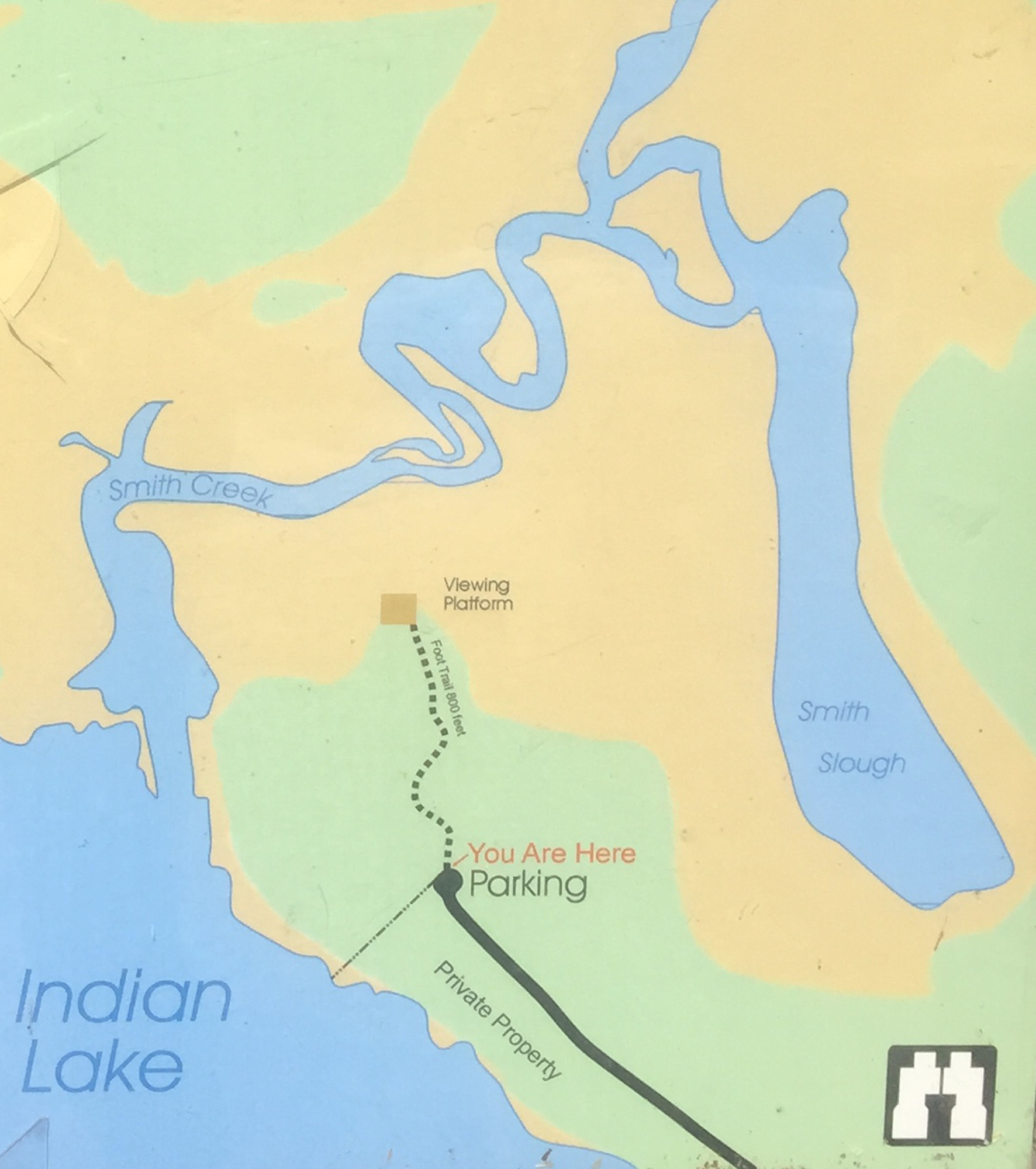 A map from an interpretive display shows the layout of the Rainey Memorial Wildlife Area in Schoolcraft County.