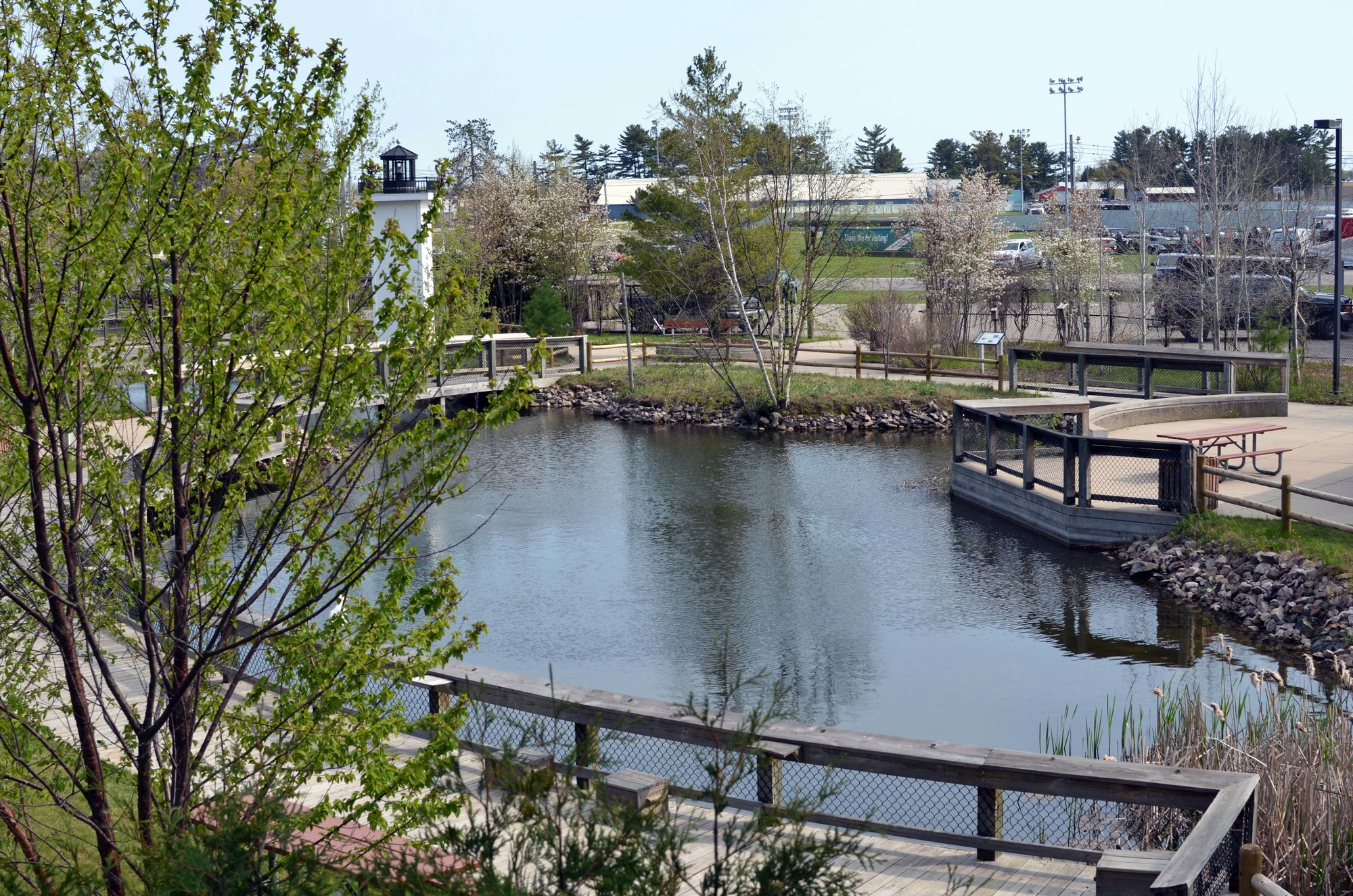 The Michigan Department of Natural Resources Pocket Park is located in Escanaba on the Upper Peninsula State Fairgrounds.