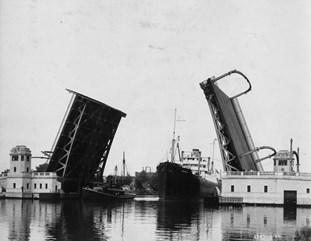 Fort Street Bridge, southwest Detroit. Black-and-white photo