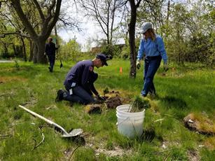People planting flowers and plants at Marathon Gardens Wildlife Habitat area, Detroit