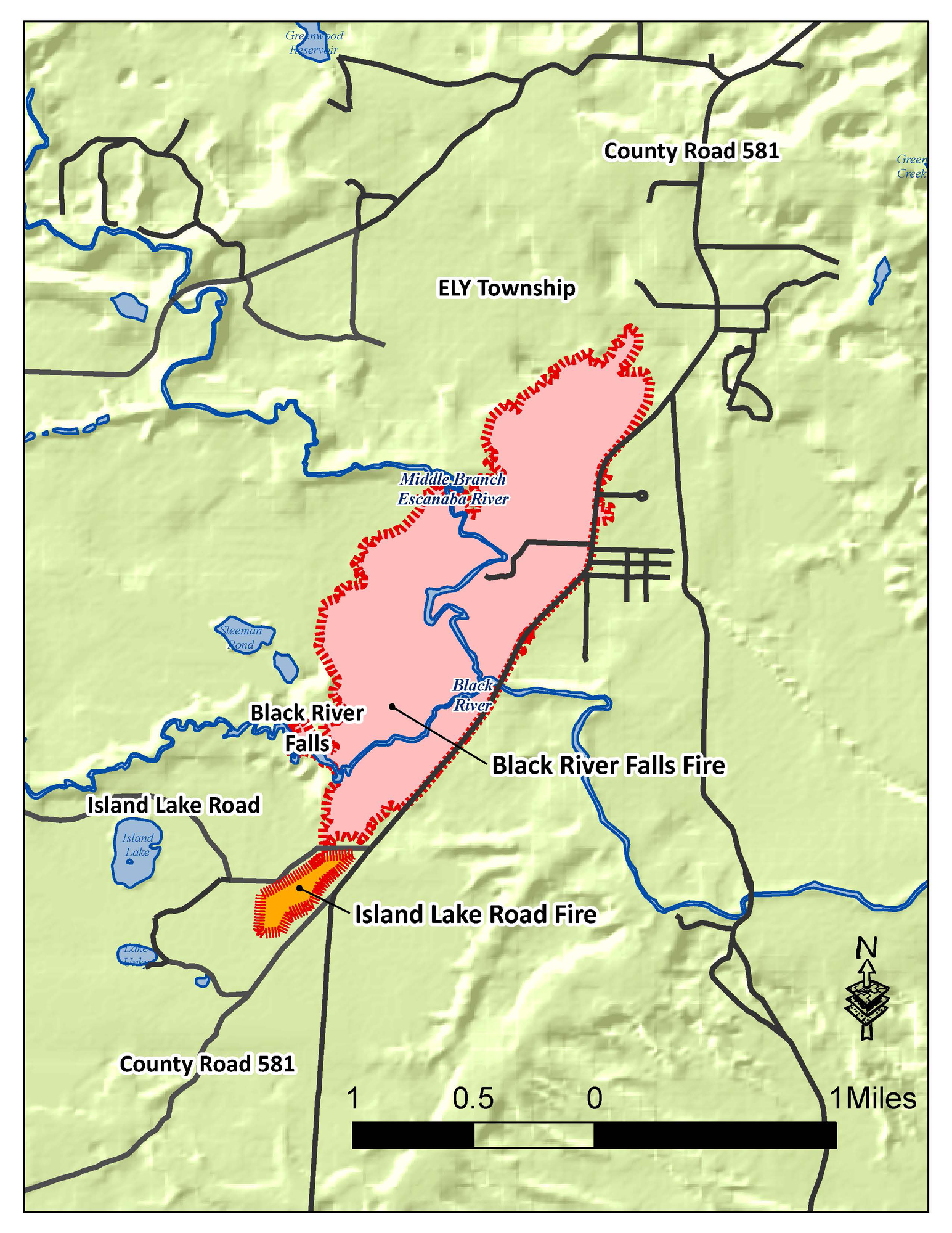 A map shows the locations of the Black River Falls and Island Lake Road fires.