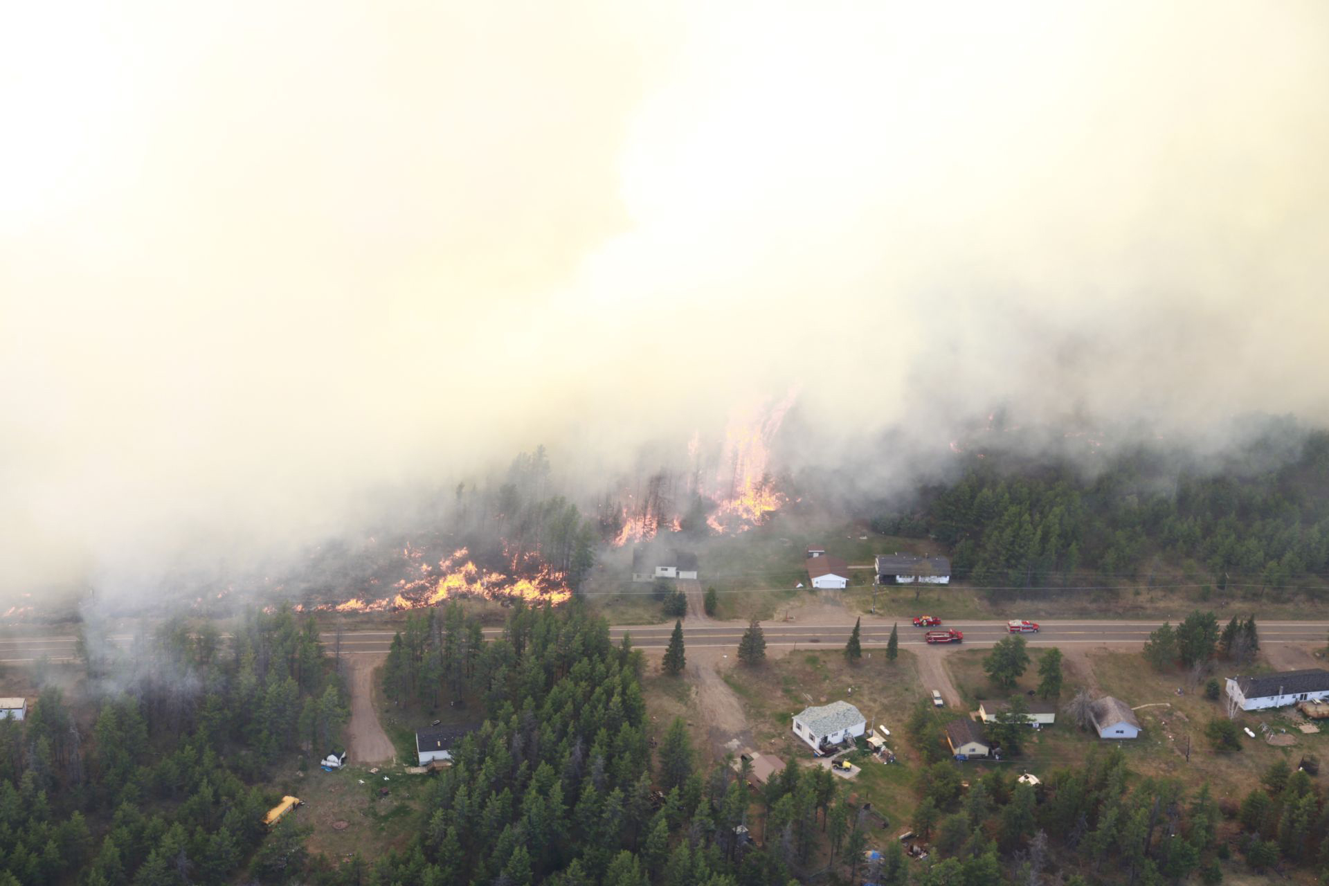 The Black River Falls Fire consumed several structures along Marquette County Road 581.