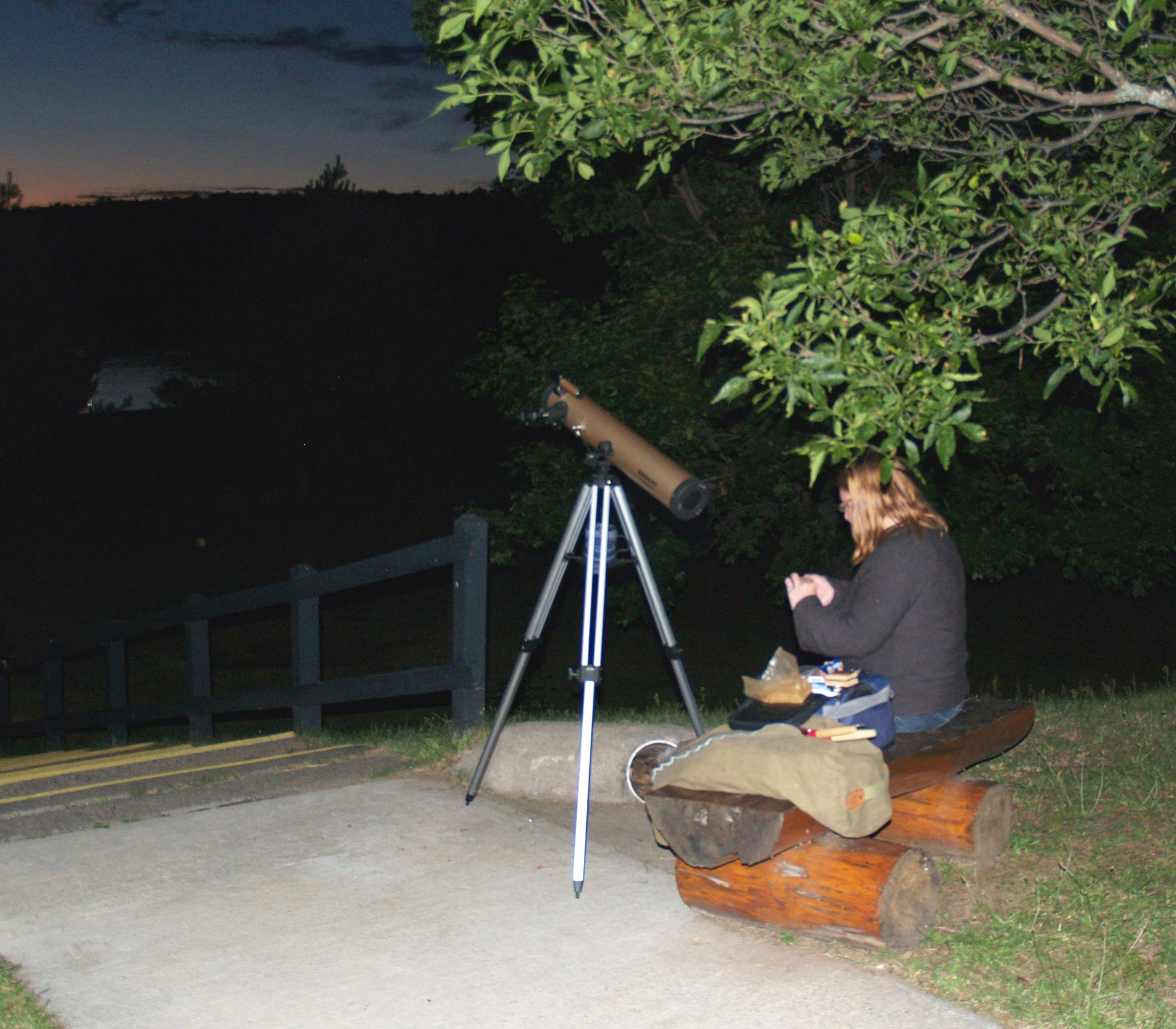 A visitor gets ready for the meteor shower at Van Riper State Park in Marquette County.