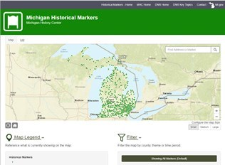 screen shot showing map of Michigan dotted with historical marker locations