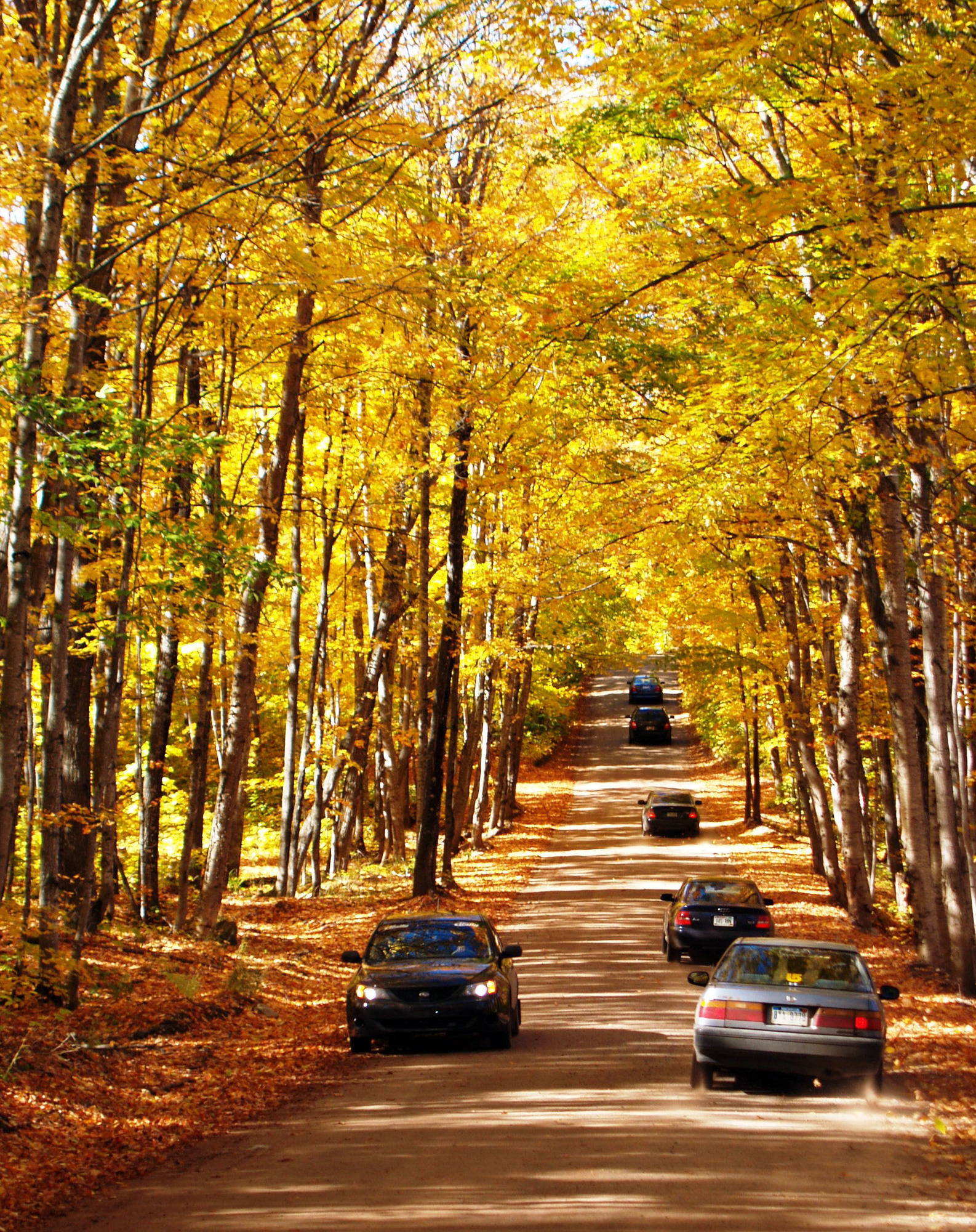 Backwoods roads can get busy during fall color season, like this section of County Road 510 near Big Bay in Marquette County.
