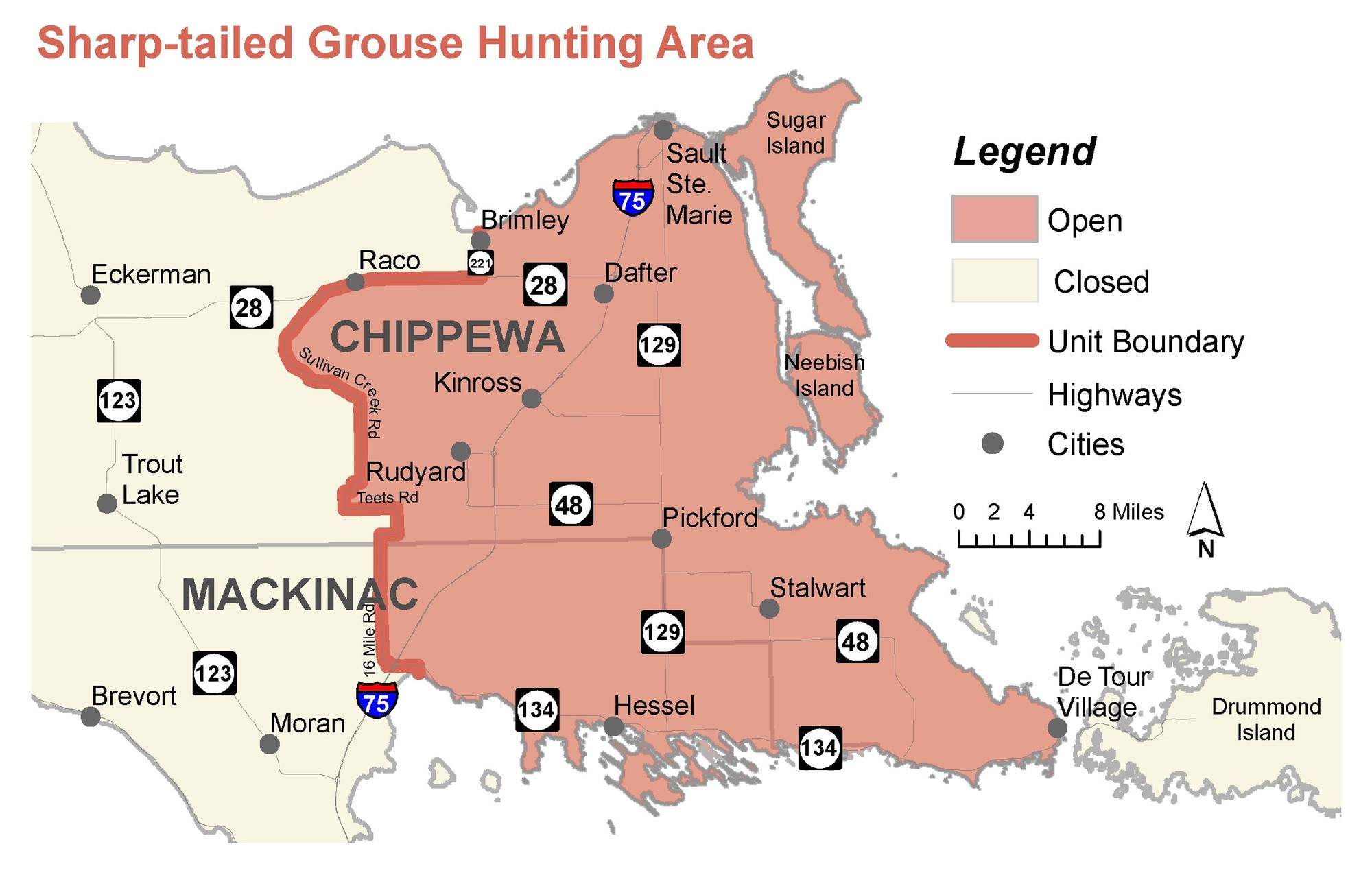 A map shows the sharp-tailed grouse hunting area in the eastern Upper Peninsula.