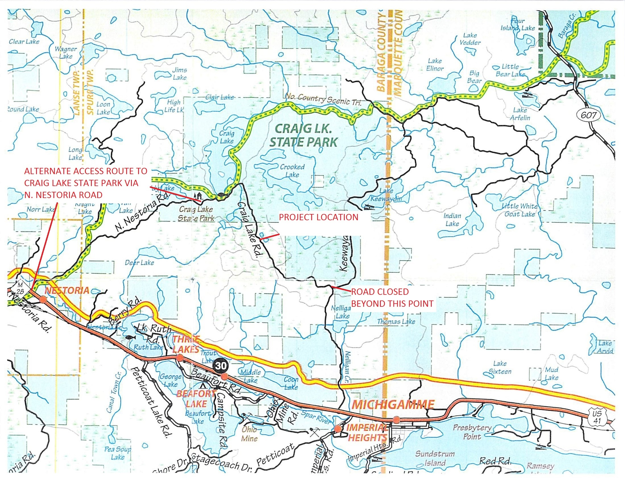 A detour map shows the Nelligan Road closure and reroute at Craig Lake State Park.