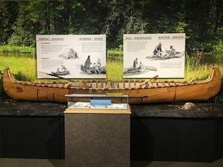 closeup view of birchbark canoe exhibit