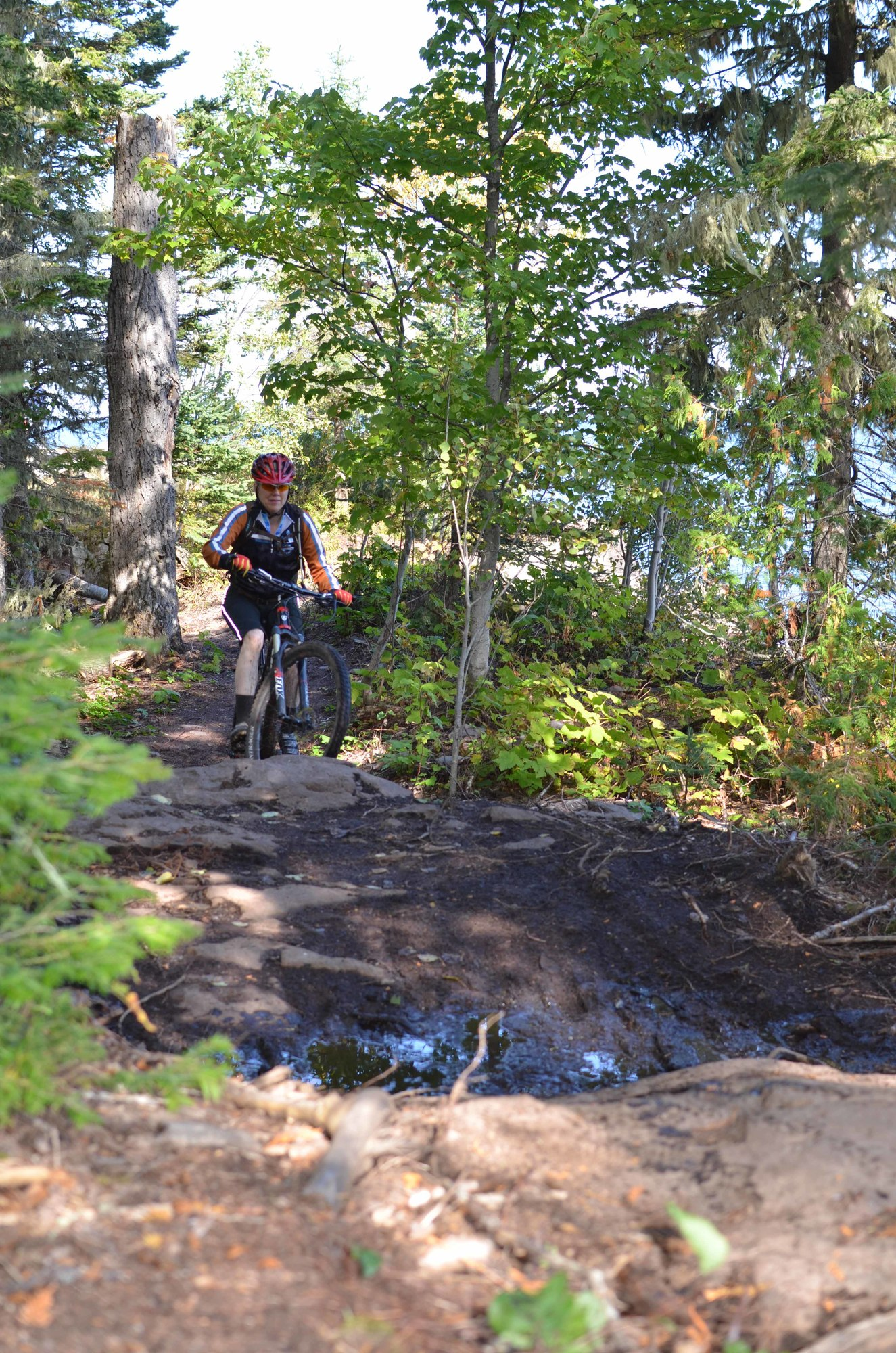 A rider enjoys a ride on the new section of the Keweenaw Point Trail Thursday in Keweenaw County.