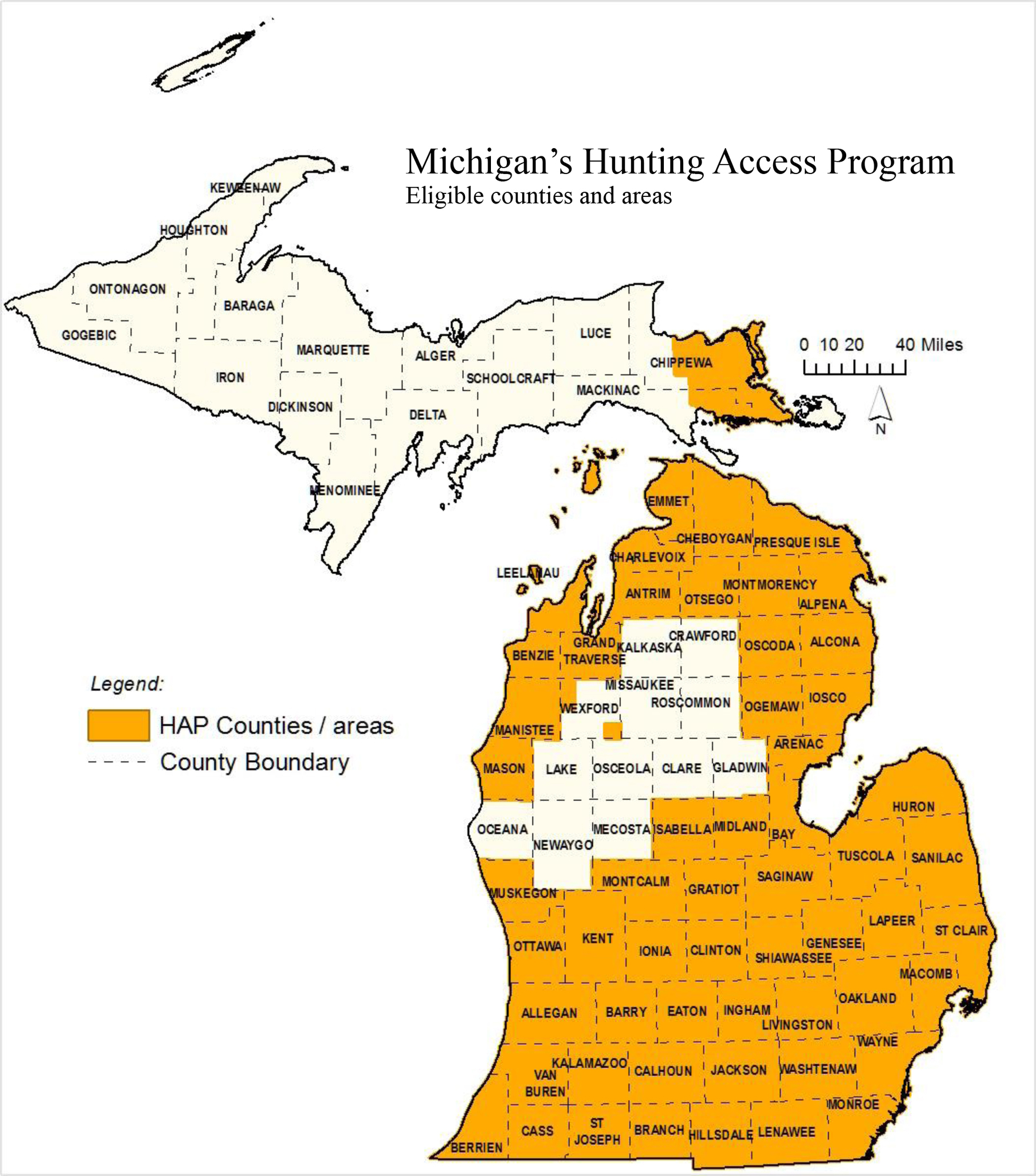 A map shows the eligible counties and areas in Michigan under the Hunting Access Program.