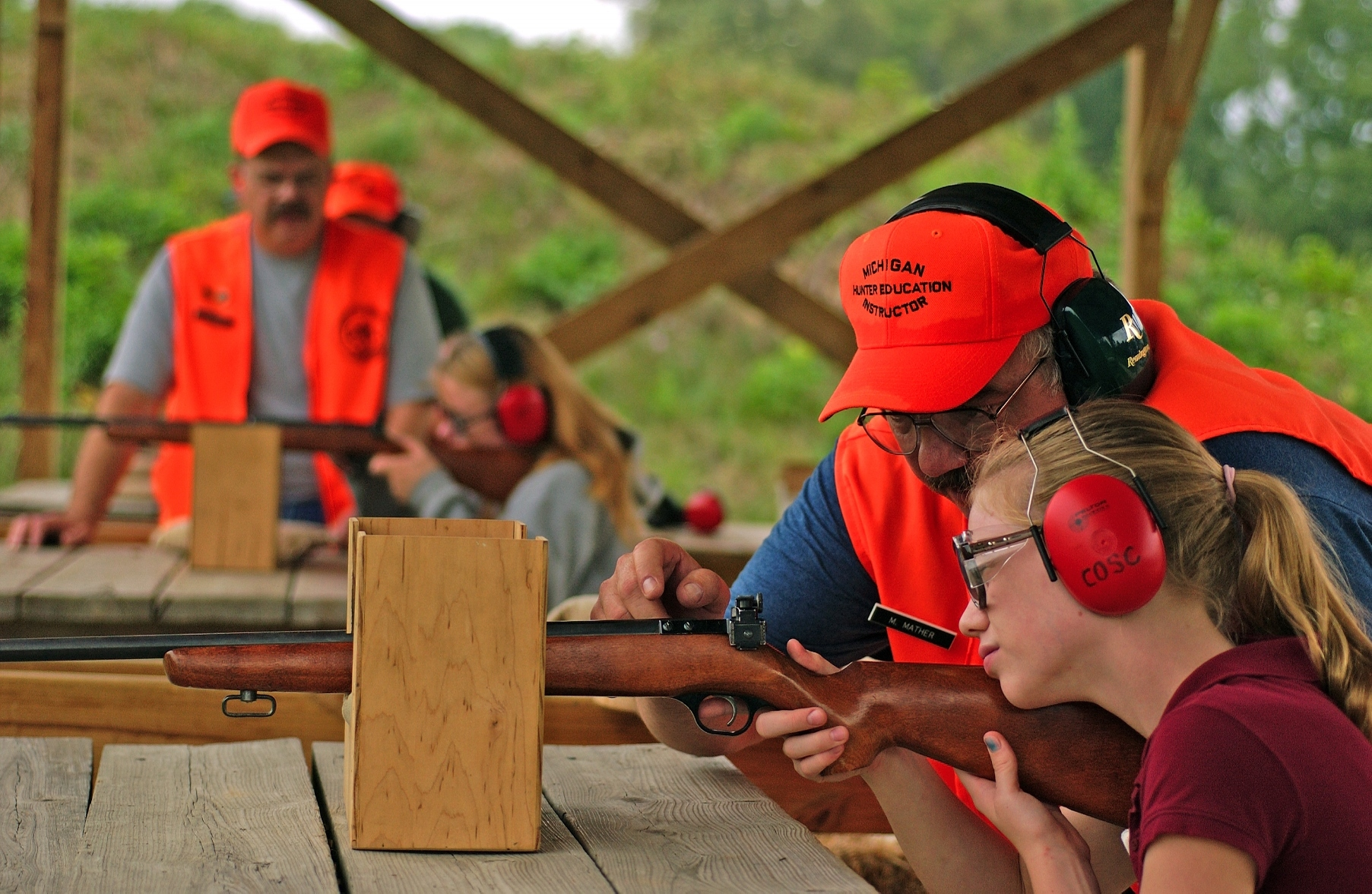 Hunter safety education students learn how to safely and properly use firearms.