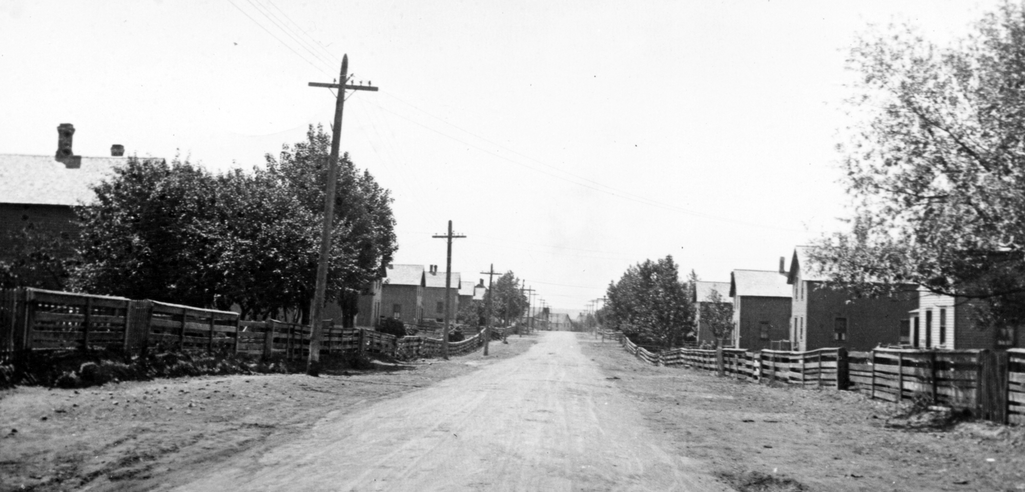 Two-story homes lined the streets of the mining town of Mohawk as shown in this photo from 1921. (photo courtesy of Archives of Michigan)