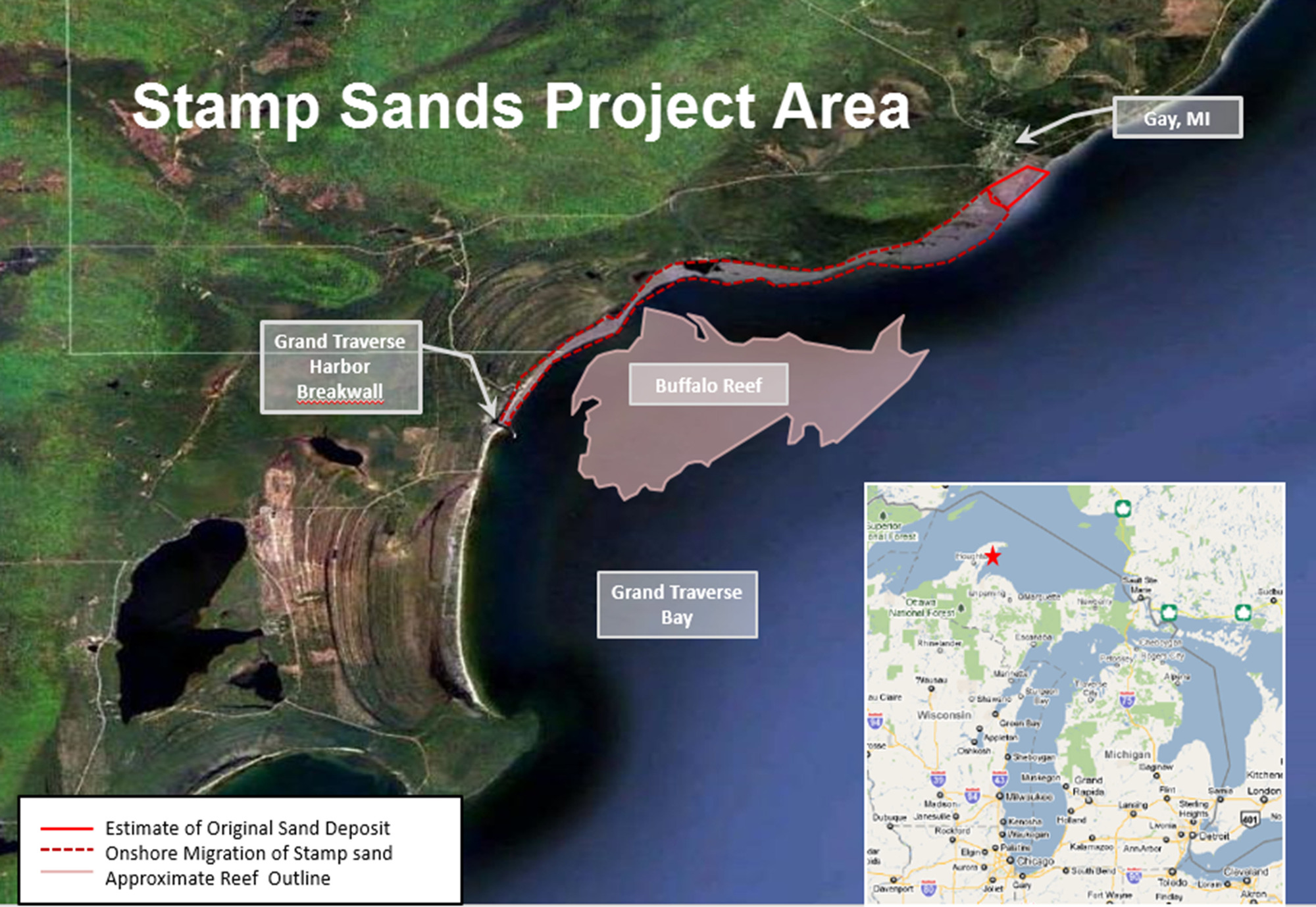 A map shows the stamp sands project area and Buffalo Reef.