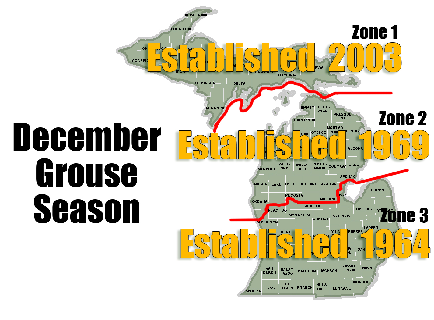 Michigan's December grouse hunting season was established by zone.