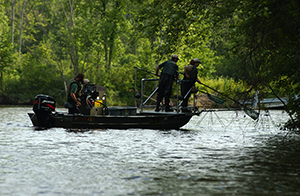 DNR fisheries staff conducts sampling of the fish communities