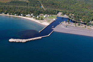 An aerial image shows dredging at the Grand Traverse Bay Harbor in 2017. (Neil Harri photo)