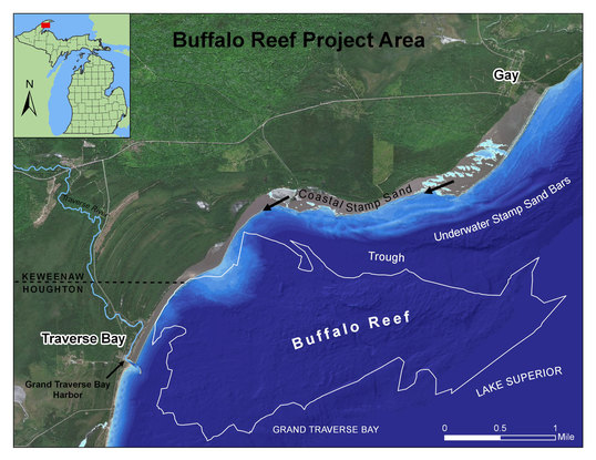 A Michigan Department of Natural Resources map shows the Buffalo Reef project area.