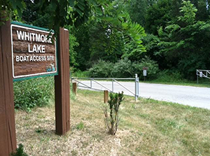 Whitmore Lake boating access site sign