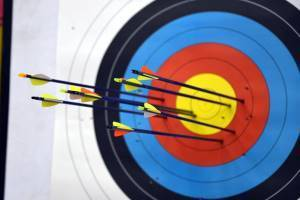 archery target with arrows in it