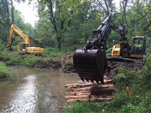 An example of high-banks restoration work, funded by DNR grants for fish and aquatic resources