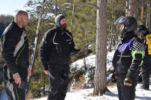 Marv Saari talks with Jeff Kakuk of the Michigan DNR and Steve Hamilton at the Montreal River Gorge in Gogebic County.