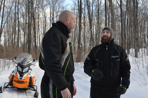 Jeff Kakuk of the Michigan DNR and Steve Hamilton of the Gogebic Range Trail Authority talk along Trail No. 11 South.