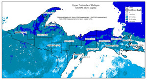 A map shows snow depth conditions in the Upper Peninsula as of April 9.