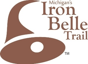 Michigan's Iron Belle Trail brown-and-white logo