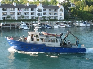 The research vessel Steelhead, one of four vessels that helps the Michigan DNR conduct important research on Michigan's fish populations and trends.