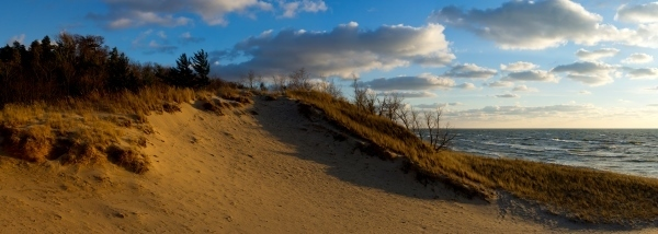 grassy sand dune and lake