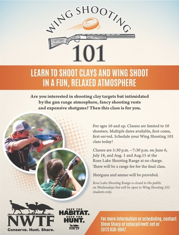 Wing Shooting 101 flyer - call 517-930-0947 for details
