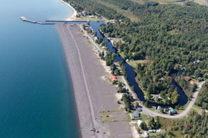 An aerial photo shows the stamp sand beach looking south toward the Grand Traverse Harbor. (Photo courtesy of Neil Harri)