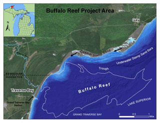 A map of the Buffalo Reef project area.