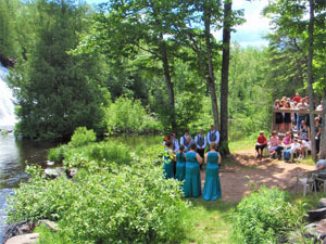 One of many weddings at the Bond Falls Scenic Site in Ontonagon County is shown.