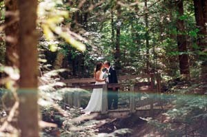 Amanda and Jeremy Hardman on a bridge at Tahquamenon Falls State Park in Chippewa County on their wedding day.