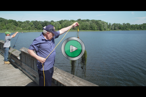 A thumbnail image from a video highlighting how boaters can help stop the spread of aquatic invasive species on lakes.