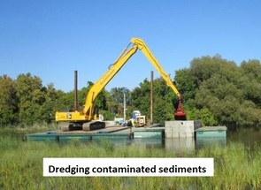 A backhoe operator dredges contaminated sediments out of the river