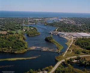 An aerial view of the Menominee River in the Upper Peninsula of Michigan. Photo courtesy Brian Holbrook, Bird's Eye Aviation.