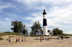 The lighthouse and beach at Ludington State Park