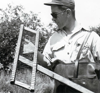 A fisheries worker looks at an electrofishing probe in an undated photo.