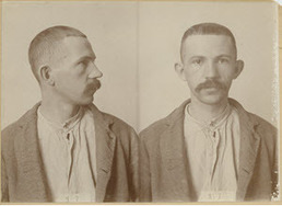 Mug shot of Raymond Holzhey, the last stagecoach robber in Michigan, includes side and front images.