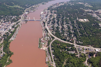 An aerial photograph shows Houghton, Hancock and the Portage Canal the day after the Father's Day storm.